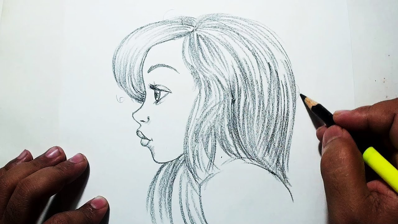 How To Draw A Girl Face Side View Easy Pencil Drawing Youtube
