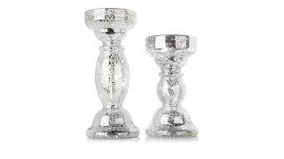 Set of 2 Lighted Mercury Glass Finish Candleholders