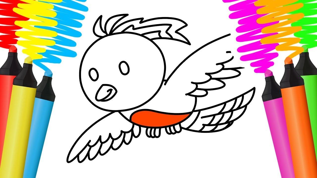Como Desenhar E Colorir Passaro E Flauta Pintar E Aprender Para