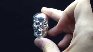 3 oz Silver Skull 3D Hand-Poured Bullion Art Bar at BGASC.com
