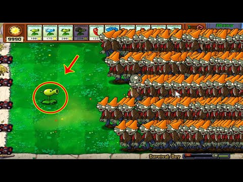 Plants vs Zombies Hak - 1 Peashooter vs 9999 Conehead Zombie vs Gargantuar