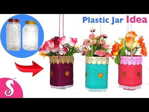 Waste Plastic JAR Idea | Make easy Hanging Flowers Vase reusing Waste Plastic Jar & Cloth for Decor