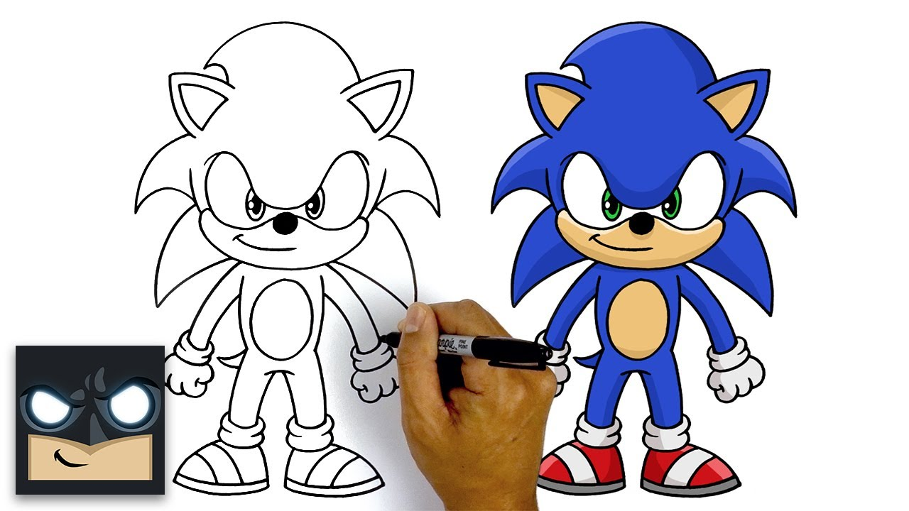 How To Draw Sonic The Hedgehog Step By Step Tutorial Youtube