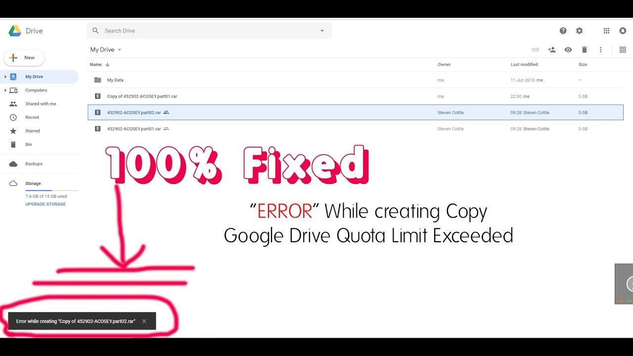 100 Fixed Error While Creating Copy Google Drive Quota Exceeded Techno Supple Youtube