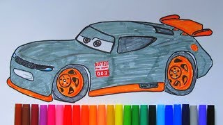 How To Draw and Color Rookie Racer 003 from CARS 3 2017