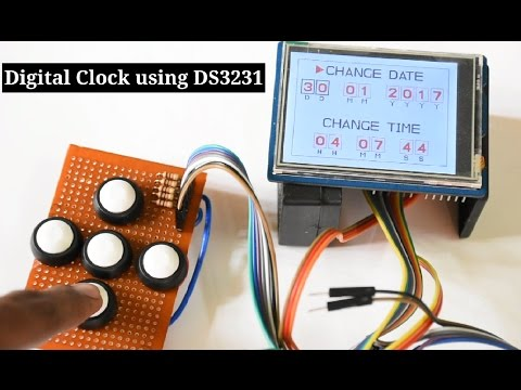 Clock on a 2.8inch TFT Touch Shield using Arduino UNO and DS3231 RTC Module