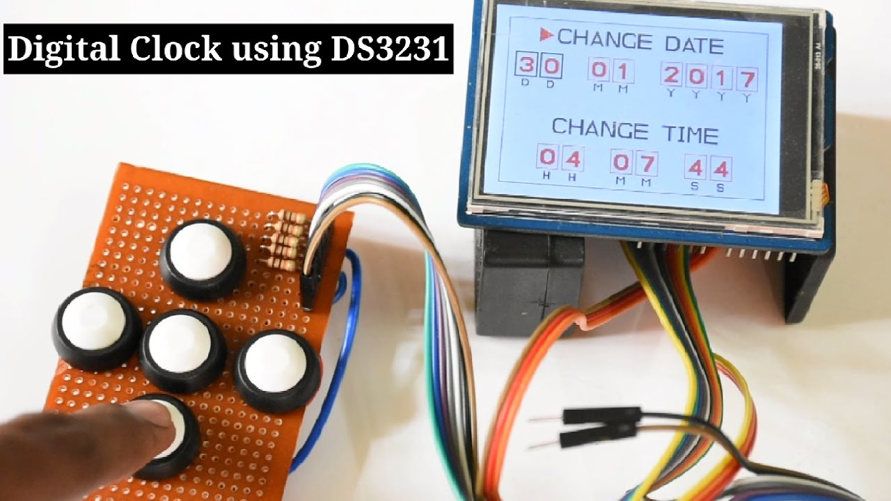 Clock On A 28inch Tft Touch Shield Using Arduino Uno And Ds3231 Rtc Real Time Schematic Module