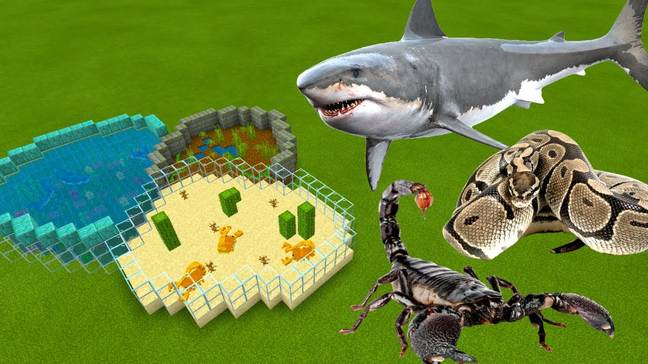 MCPE: How To Make a SHARK, SCORPION & ANACONDA FARM