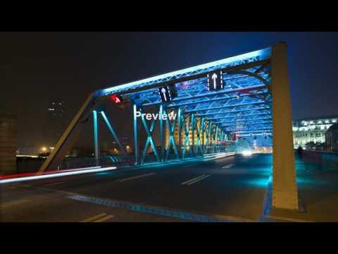 tl suzhou creek waibaidu garden bridge illuminated at night shanghai china WytLP JNr