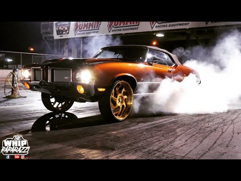 """Supercharged LSX Powered Oldsmobile Cutlass On Gold 26"""" Forgiato Girare Wheels On The Track"""
