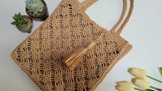 코바늘 마름모무늬 네트백/코바늘 네트백 뜨기