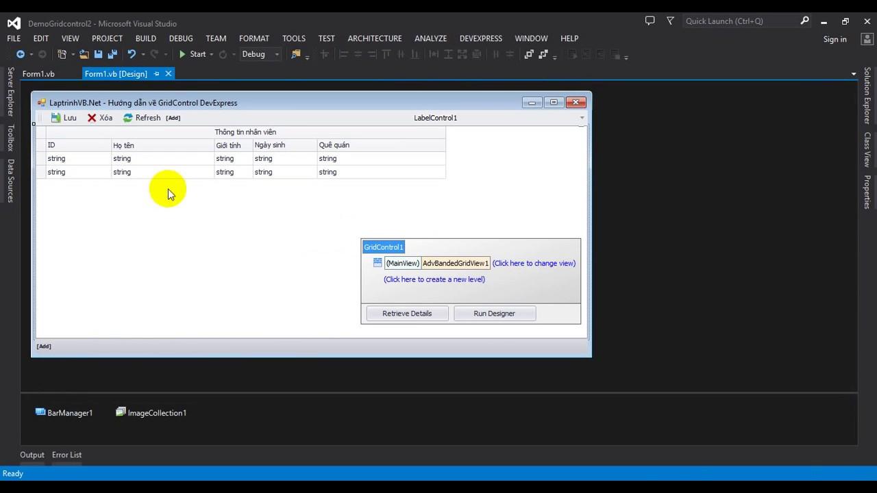 GridControl DevExpress - Thêm sửa xóa trực tiếp trên grid VB Net