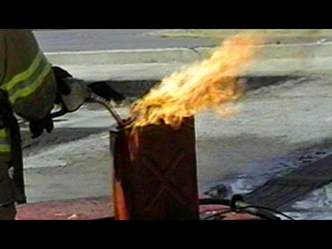 Real static electricity fire simulation gasoline container ignited by spark static - Remove static energy ...
