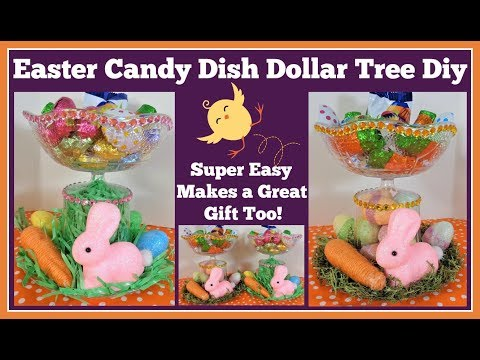 Dollar Tree DIY Easter Candy Dish 🌸 Really Fast and Easy