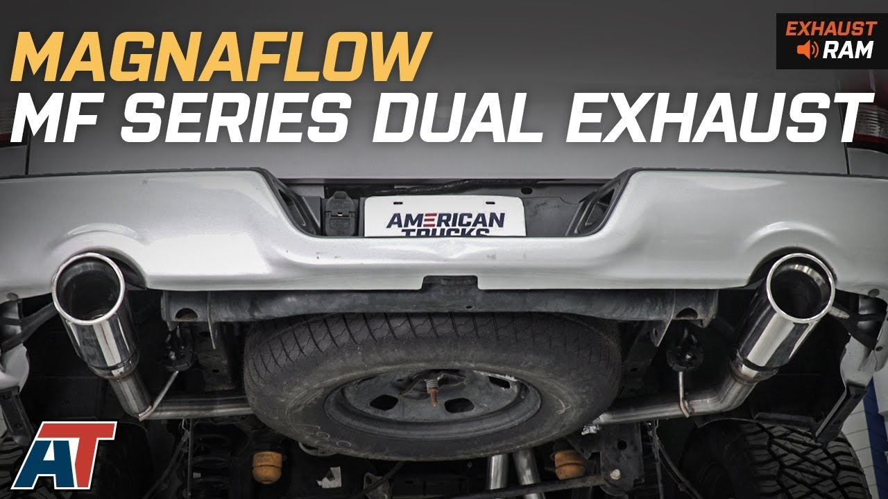 2009 2018 ram magnaflow mf series dual system rear exit 5 7l exhaust sound clip install