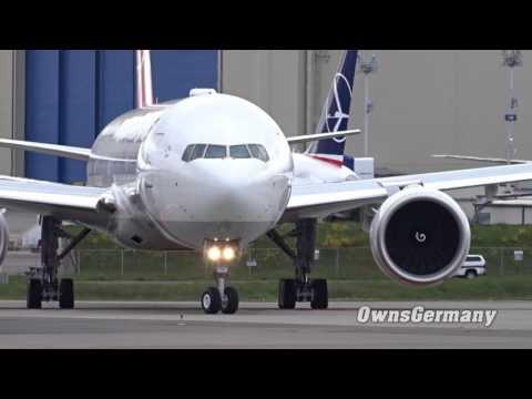 Turkish Airlines Boeing 777-300ER TC-LJK Departure @ KPAE Paine Field