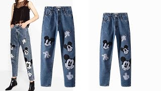 Woman cute mickey jeans denim pants Review | Best Jeans For Women Fashion 2018