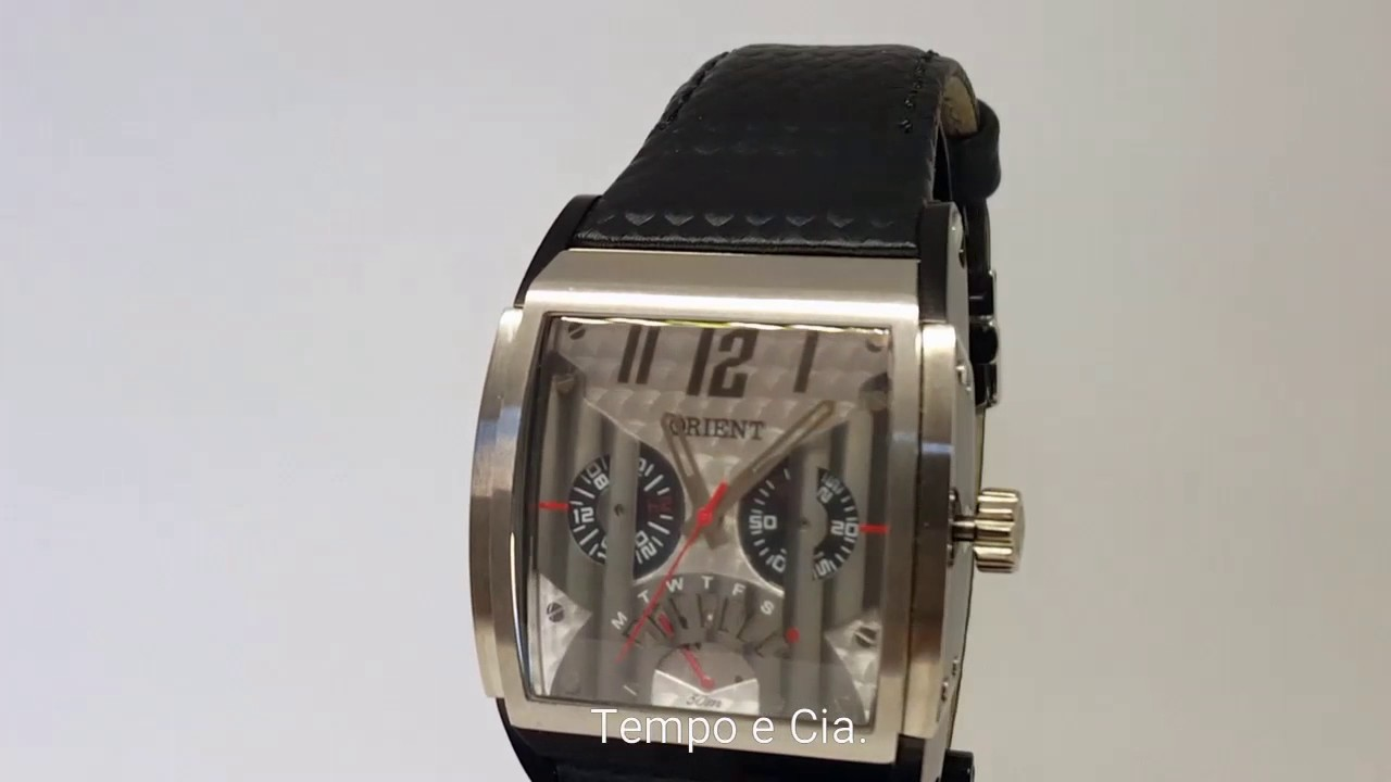 d88f2e4f0f2 Relógio Orient masculino GTSCM001 Quadrado Pulseira Couro Preto Multifunção
