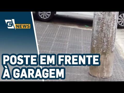 Poste em frente à garagem atrapalha vida de morador no ABC