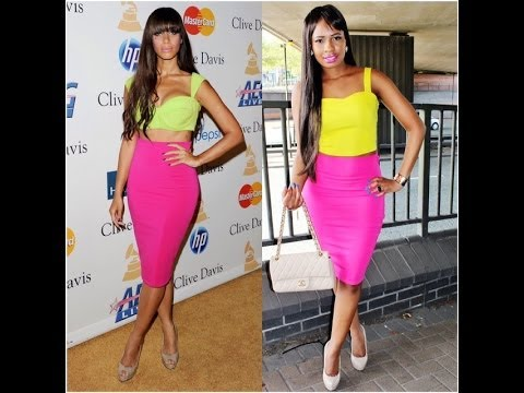 STYLE STEAL : LEONA LEWIS PINK PENCIL SKIRT AND LIME GREEN CROP ...