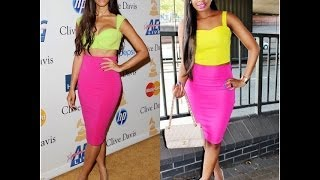 STYLE STEAL : LEONA LEWIS PINK PENCIL SKIRT AND LIME GREEN CROP TOP