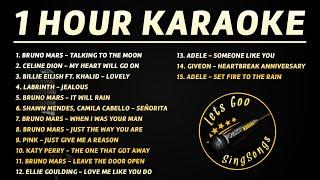 1 HOUR KARAOKE SONGS WITH LYRICS 🎤 Bruno Mars, Adele, Celine Dion, Katy Perry, Billie Eilish