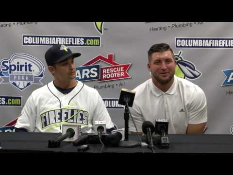 Columbia Fireflies | Tim Tebow Press Conference After Debut Home Run