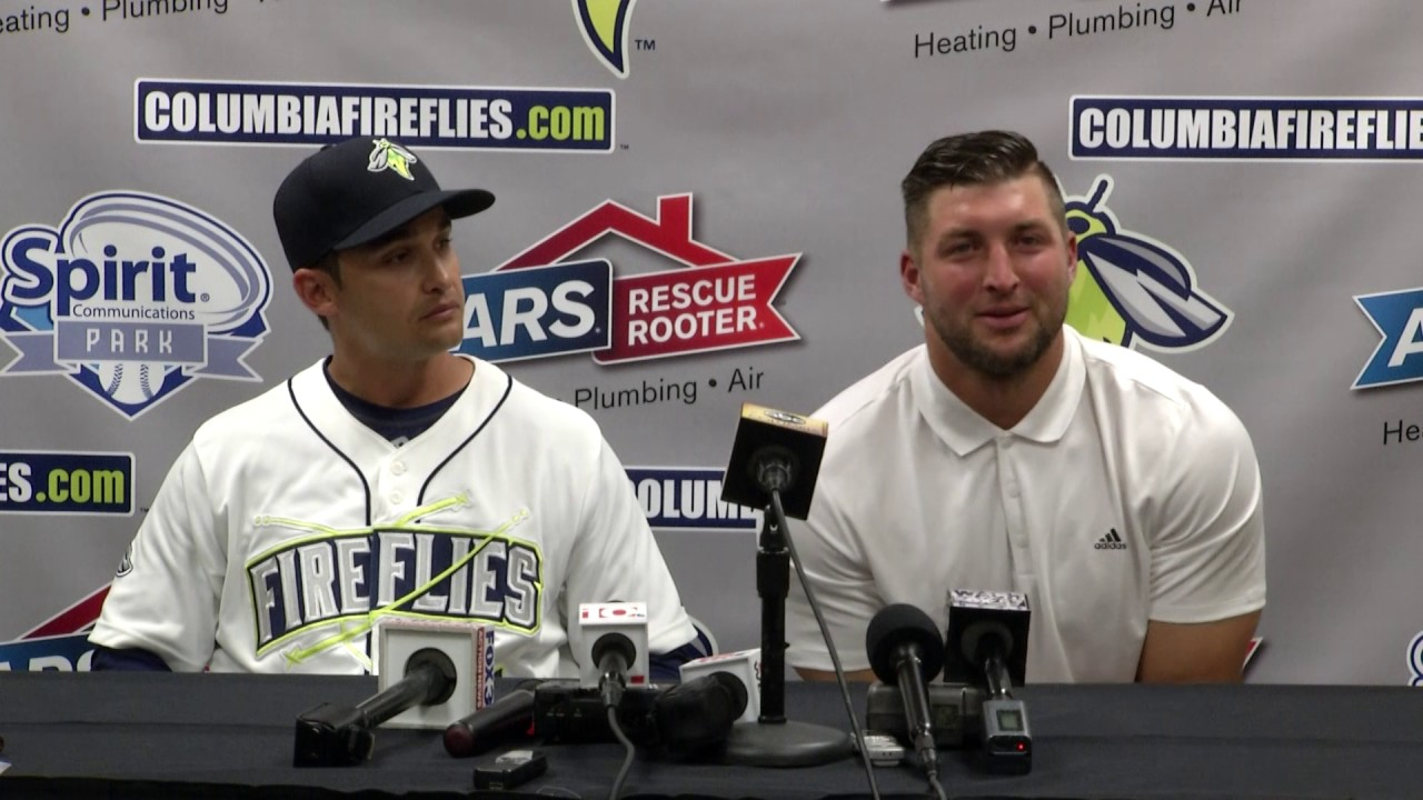 sports shoes 9a3d5 98b7c Columbia Fireflies | Tim Tebow Press Conference After Debut Home Run