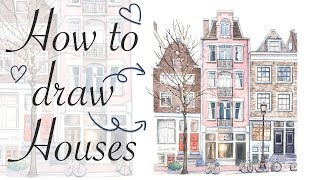 How to Draw Cute House - Watercolor illustration for ...