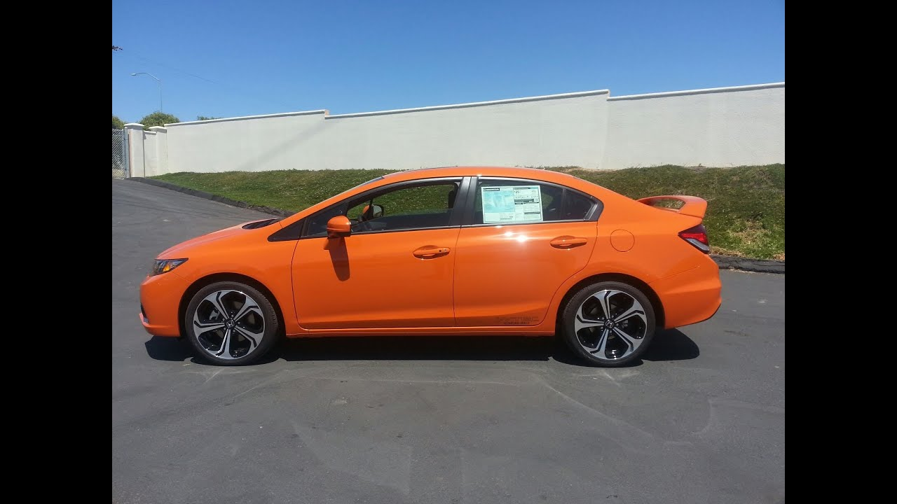 Review 2014 HONDA CIVIC Si SEDAN Orange Fire Pearl NEW Demo Walkaround