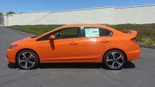 review 2014 HONDA CIVIC si SEDAN orange fire pearl NEW demo walkaround