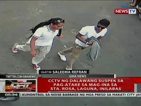 CCTV ng dalawang suspek sa pag-atake sa mag-ina sa Sta. Rosa, Laguna, inilabas