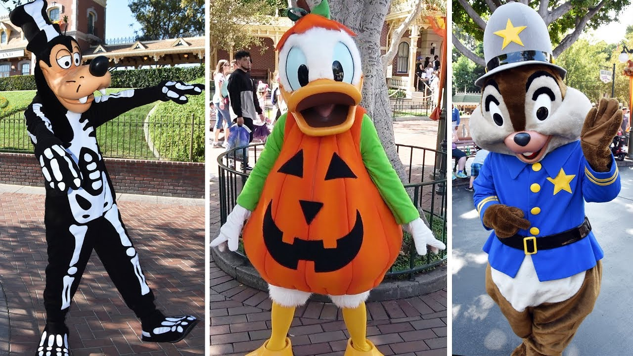 disneyland halloween character montage including mickey minnie jack sally goofy donald chip