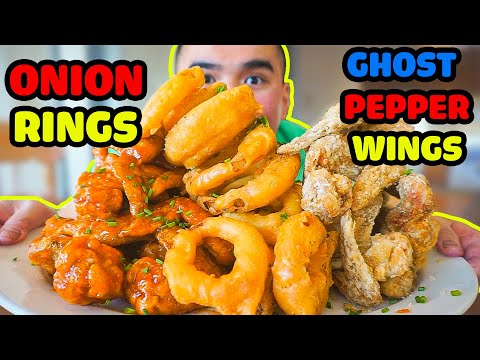 How to make ONION RINGS & GHOST PEPPER WINGS *Mukbang
