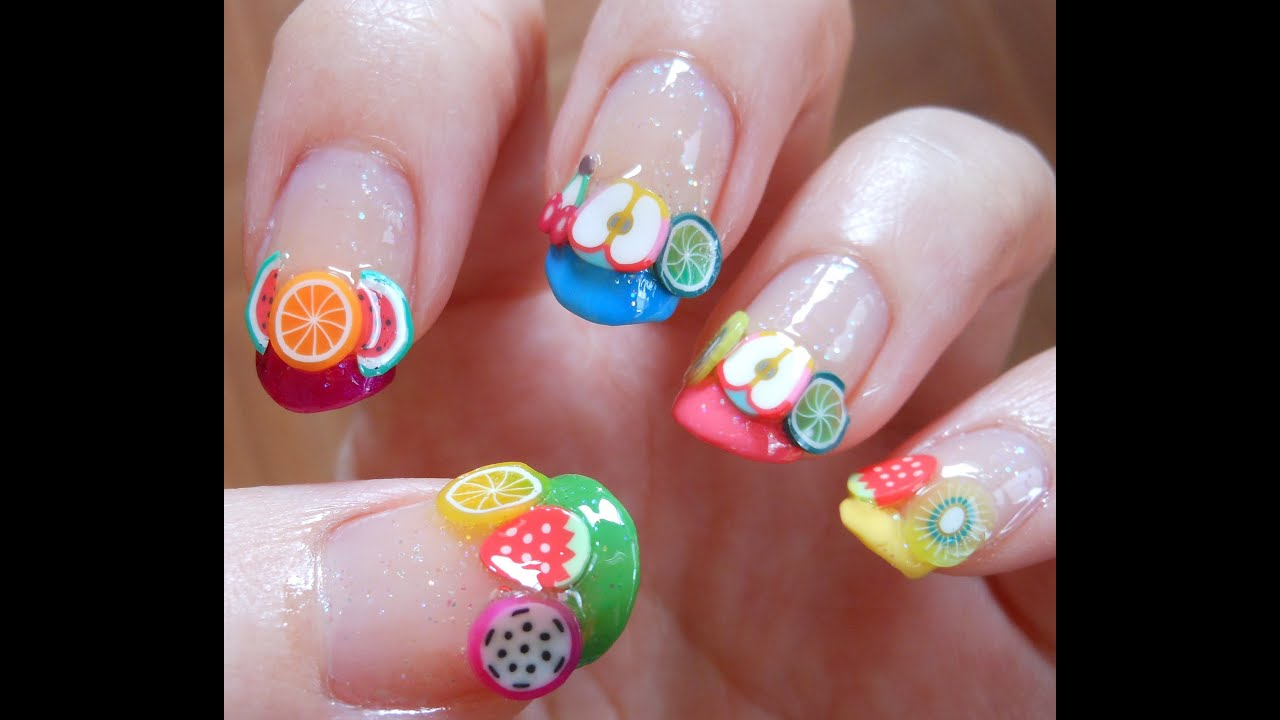Super adorable multicolor fimo fruit nail art - YouTube