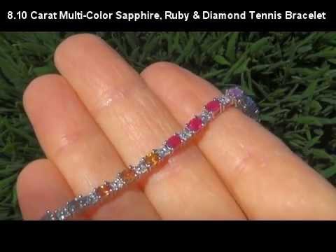 Estate 8 10 Carat Rainbow Shire Ruby Diamond Tennis Bracelet Solid 14k