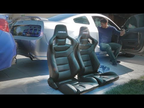 THESE SEATS ARE SO NICE! Mustang Corbeau Racing Seats Install