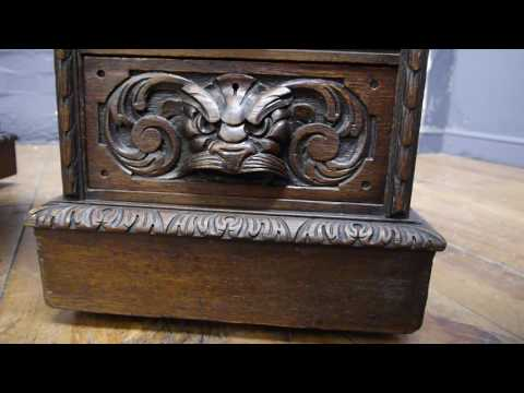 Antique Victorian Carved Oak Green Man Pedestal Writing Desk