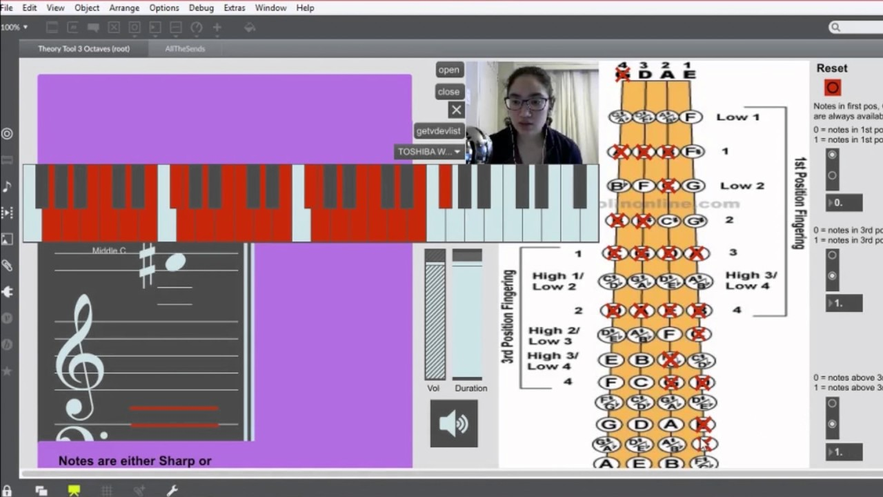 G Major Scale on the Violin - 1, 2, and 3 octaves using Max MSP
