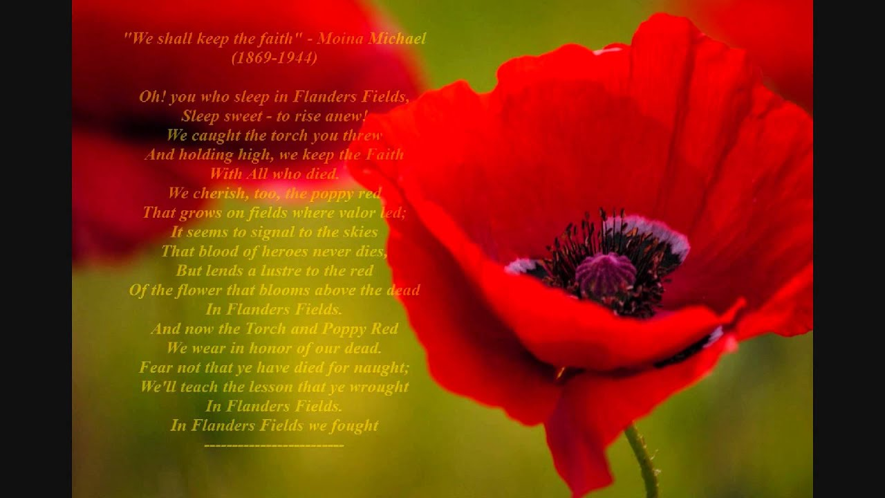 Moina michael poem we shall keep the faith ww1 poem youtube mightylinksfo