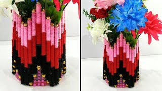 DIY Flower Vase Out of Waste Newspaper and Wool | Home Decor Idea