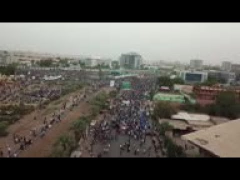 Drone footage of mass protest in Sudan capital