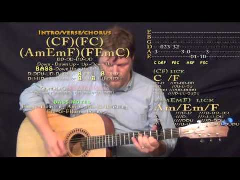 House Party (Sam Hunt) Guitar Lesson Chord Chart - Capo 3rd