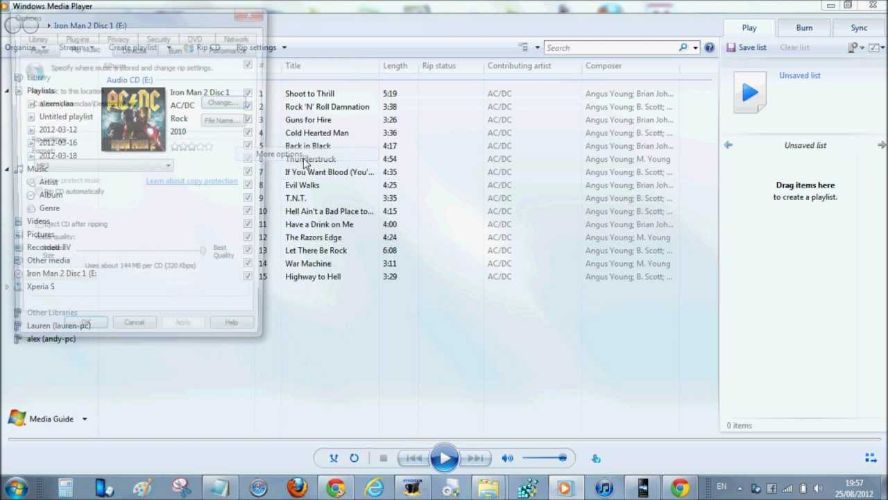 WMP lets you copy music from a disc to your computer for backup