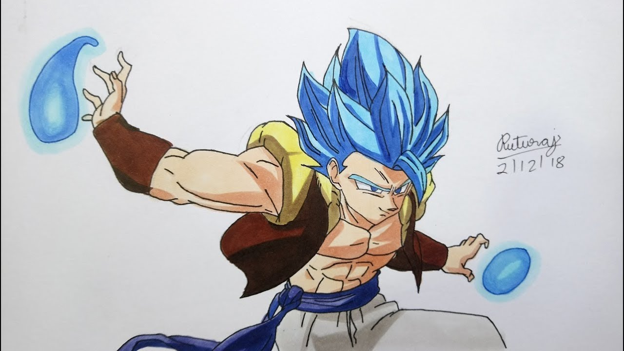 Drawing Gogeta Blue In New Movie Style Dragonball Super Broly Youtube