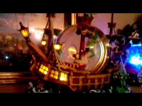 Captain Hook ship musical snowglobe with light and movement