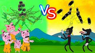 Siren Head Green Forest Vs Siren Head Gold with Piggy Tribe  Roblox Piggy Animation | GV Studio
