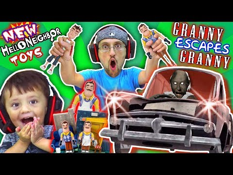 GRANNY gives HELLO NEIGHBOR TOYS to FGTEEV & She plays GRANNY 2! (Car Escape Ending)