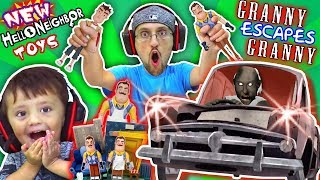 GRANNY gives HELLO NEIGHBOR TOYS to FGTEEV & She plays GRANNY 2! (Car Escape Ending) thumbnail