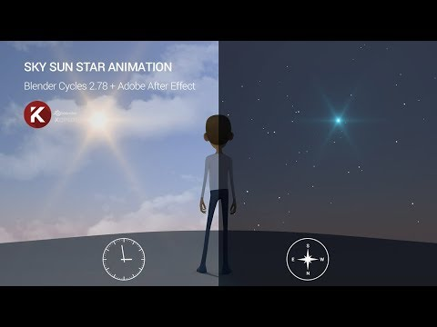Blender 3D Cycles (et AE) tutorial  - Sky Sun Star animation - Français - by KOPILOT